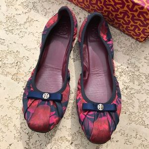 TORY BURCH Ally Ballet Flats Fabric Satin Red Navy